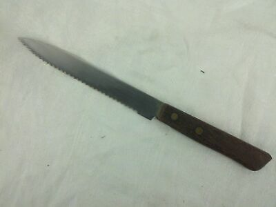 """Serrated Stainless Steel Wooden Handle Knife 9"""""""
