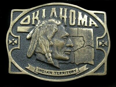 Sa07153 Vintage 1978 **Oklahoma Indian Territory** Solid Brass Belt Buckle