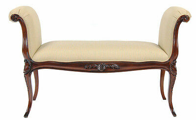 Hand Crafted Upholstered Mahogany French Window Bench With Cabriole Legs