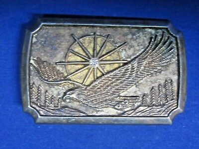 """Vintage Metal Belt Buckle """"Eagle and Jeweled Sun above Trees"""" made in Hong Kong"""