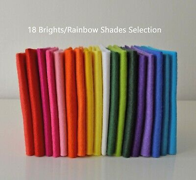 18 Brights Rainbow Bundle | Wool Mix Felt Pack | 18 Sheets | Size Options