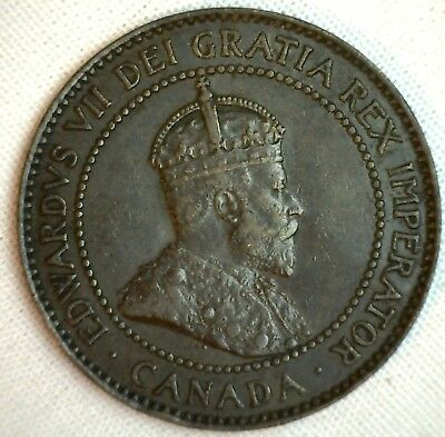 1902 Copper Canadian Large Cent Coin 1-Cent Canada VF #6