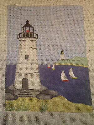 Lighthouse with Sailboats, Hand Painted Needlepoint Canvas by Silver Needle