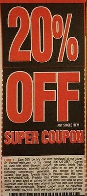 Two(2) Harbor Freight 20% Off!! ~ Use at Home Depot/Lowes ~ Expiration > 1 Month