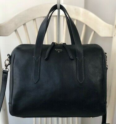 FOSSIL SYDNEY Black Leather Satchel Shoulder Handbag Convertible Crossbody Purse