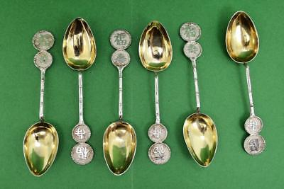 6 Chinese Export Sterling Silver Gilt Spoons marked Yok Sang Chop Mark Shanghai