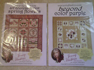 2 Jenny Haskins Embroidery Design CDs - Beyond Color Purple & Spring Flowers