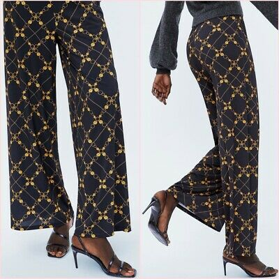 SALE Baroque Black Gold Chains Wide Leg Palazzo Trousers S UK 8 US 4 Blogger❤