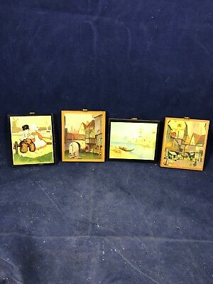 d352587d0394 Vintage Wood Wall Plaques Wooden Toleware Small Set Of 4 - 1940 s