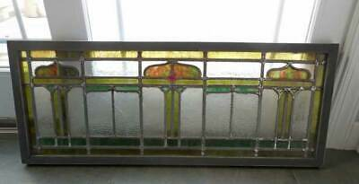 Antique LEADED STAINED AMERICAN WINDOW  / TRANSOM