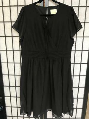 ModCloth  Black Chiffon Dress Flutter Keyhole Empire Waist NWOT 1X