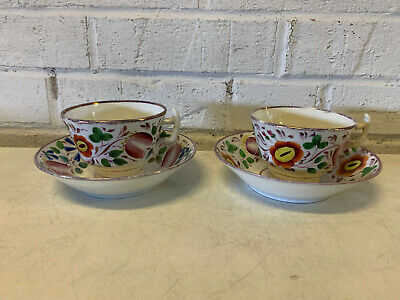 Antique Pair of English Staffordshire Pink Luster Lustre Cups & Saucers Floral