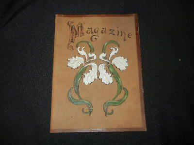 Vintage Leather Magazine  Book Cover Hand Painted Motif