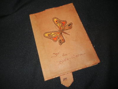 """VINTAGE LEATHER BUTTERFLY BOOK COVER """"BOOK WORM"""" 1950-60 era"""