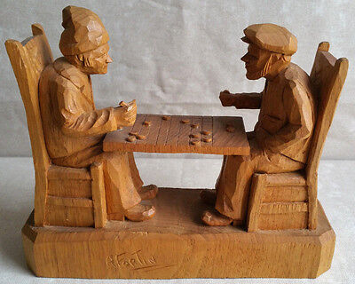 FORTIN Carved Wood Group Sculpture Checkers Game Statue Quebec Folk Art Canada
