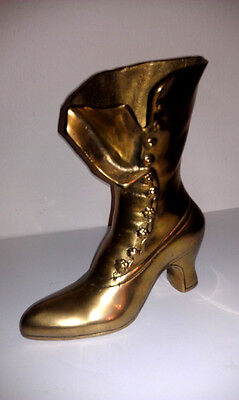 Leonard Silver Co Solid Brass Colection Victorian Boot Shoe Figurine Vase Korea