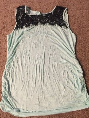 Planet Motherhood Maternity Tank Top with Lace/Ruching  - Mint Green, Size XL