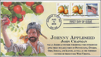 2016, Apples, First Day Cover, Johnny Appleseed, 1 cent, 16-262