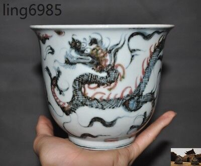 "A 6""antique China dynasty black&White Old porcelain Dragon statue bowl Cup bowls"