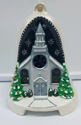 Vintage Ceramic Modern Light Craft Lighted Church House Christmas Tree 1984