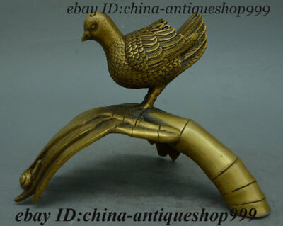 "8"" Collect Antique Chinese Folk Bronze Fengshui Wealth Bamboo Bird Snail Statue"