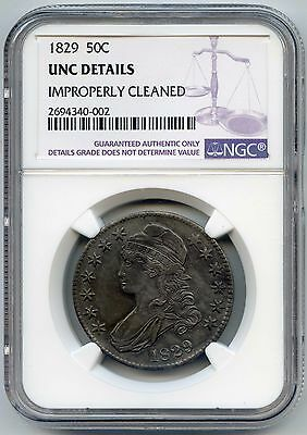 1829 50C Capped Bust Silver Half Dollar. NGC Graded UNC Details. Lot #2473