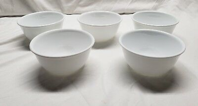 Set Of 5 Corelle Winter Frost White Deep Ice Cream Dessert Bowls