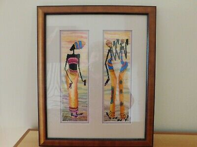 Handmade Finished Framed Cross Stitch Picture/African Art