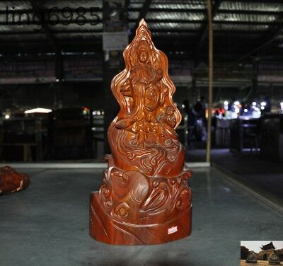 Chinese Buddhism Boxwood wood carving Ruyi Boy Kwan-yin Guan Yin goddess statue