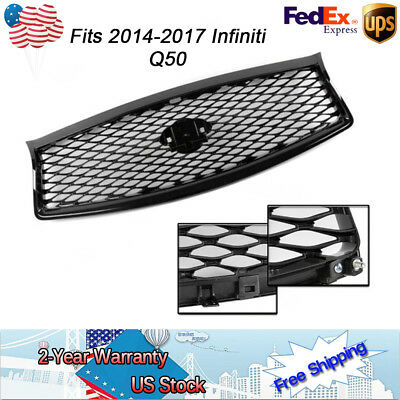 1 Set Front Mesh Upper Grill fit for 14-17 Infiniti Q50 Glossy Black ABS Plastic