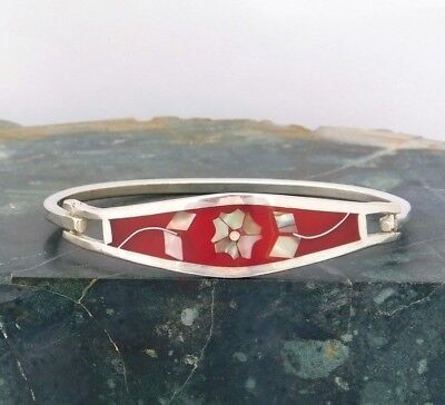 """Mexican Abalone Bracelet Alpaca Silver 6-7/8"""" Vtg Hinged Red Enamel Inlaid H21"""