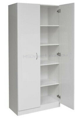 New 2 Door Pantry Cupboard Linen Storage Cabinet / Shelf Wardrobe/ Kitchen/ Laun