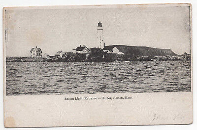 EARLY Boston Light Entrance to Harbor Boston Massachusetts MA Unposted