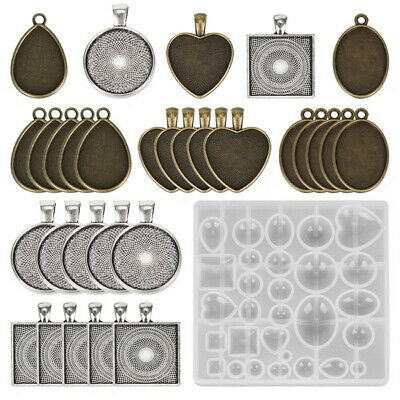 1Set Resin Casting Molds Jewelry Making Silicone Molds Pendant Trays Base Plate