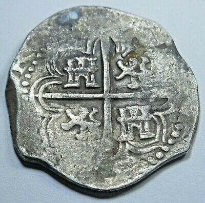1600's Spanish Silver 2 Reales Piece of 8 Cob Real Colonial Pirate Treasure Coin