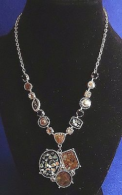 Vintage Necklace - Mother of Pearl (MOP) / Abalone / Black & White Rhinestones