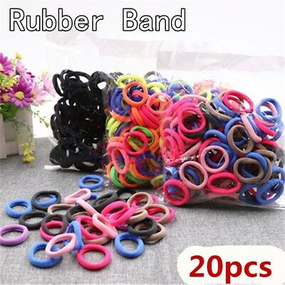 20Pcs/Lot Black Colorful Elastic Hair Band Headwear Rubber Bands Ponytail