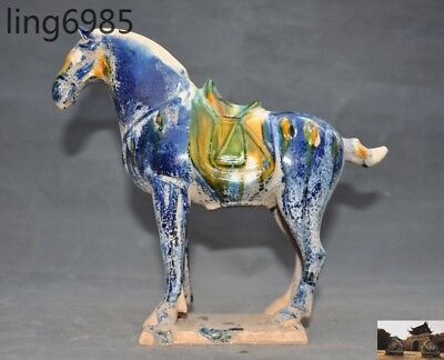 A Old Chinese Tang Sancai Porcelain Pottery carved War horse Tang horses statue