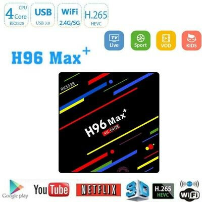 H96 Max+ 4G+64G Android 9.0 RK3228 Quad Core Smart TV BOX 4K Media Player Wifi