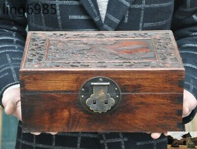 """11"""" Chinese Huanghuali Wood Carved Boutique Lotus Fish storage boxes Jewelry Box"""