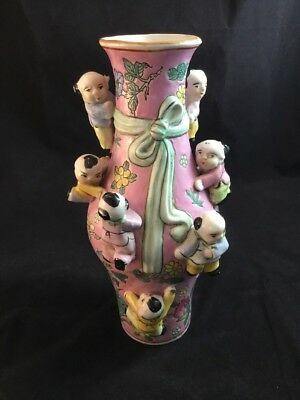 Vintage Chinese Porcelain Fertility Vase Pink, Green Sash, Children, Butterflies