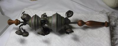 19th Century Rare Painted Tin Childs Rattle Bells Whistle Large Early Americana