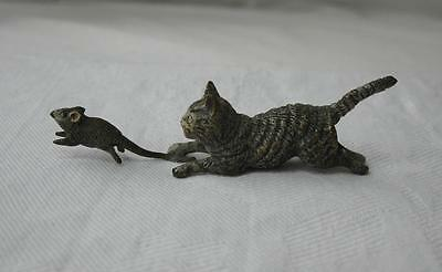 Austrian Vienna Bronze Cat Chasing Mouse Antique c1900 Bergmann Kitten Wiener