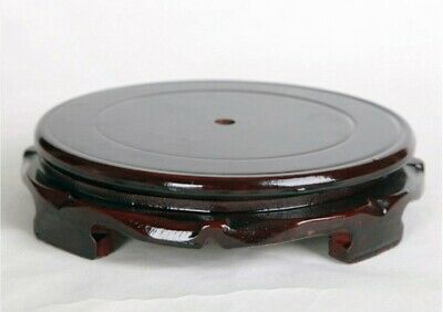 CHINESE HARD Black WOOD NICE CARVED BONSAI POT/VASE Round rotatable STAND 14cm U