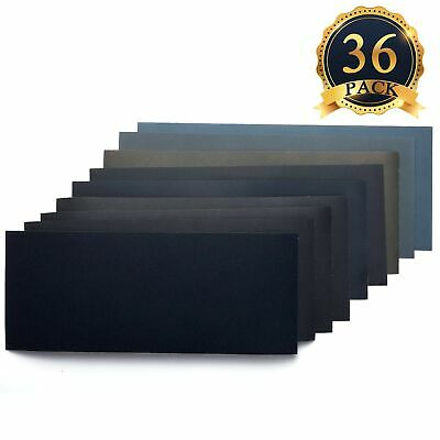 36 Pieces Dry/Wet Waterproof Abrasive Sandpaper, 400 to 3000 Grit, Used for M...