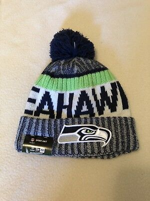 291daa1fc SEATTLE SEAHAWKS NEW Era Knit Hat On Field Sideline Beanie Pom ...