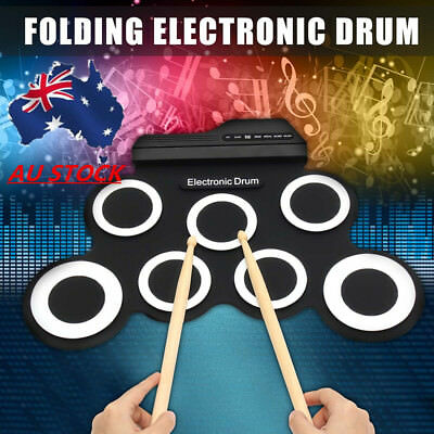 AUS 7 Pad Electronic Foldable Roll Up USB Drum Record Stick Kit+Drumstick&Pedal