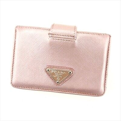 6dad118be227 Prada ID Wallet Pink Silver Safi Arno leather Woman Authentic Used F1481