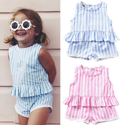 UK STOCK Toddler Baby Girl Holiday Summer Stripe Tops Shorts Outfit Set Clothes
