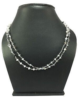 AAA Black Rutile Beaded Necklace Chain 925 Sterling Silver Jewelry BN-1025
